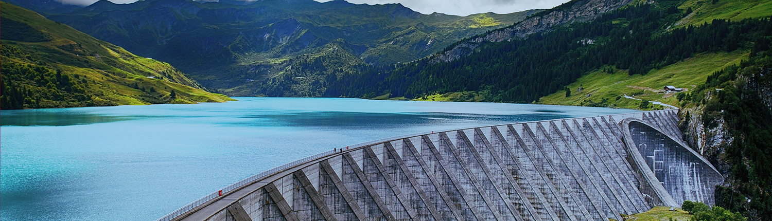 view of the Roselend weir, Savoy, French alps
